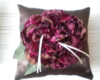 Wine Peony Ring Bearer Pillow in Chocolate