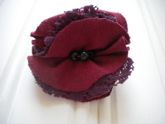 Burgundy Cloth with Purple Lace Rosette Pin