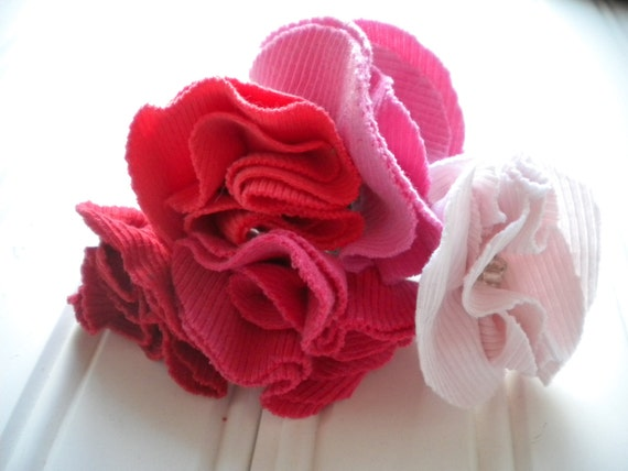 Set of Five Rosette Ponytail Holders in Blushes