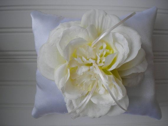 Cream with Green Rose Ring Bearer Pillow