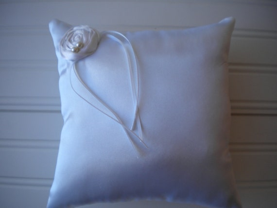 White Rolled Rosette Ring Bearer Pillow