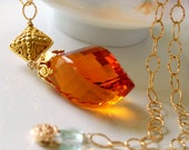 The Living Light - Elegant Necklace with Huge Citrine, Long Chain Necklace, 14K Gold Filled, Classy Pendant Necklace