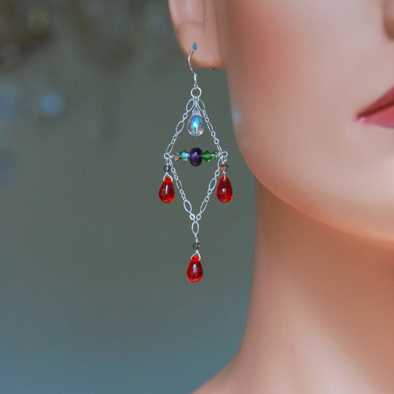 SALE - Kaleidoscope - Silver Chandelier Earrings,  Amethyst and Swarovski Crystals Earrings, Glass Dangle Earrings