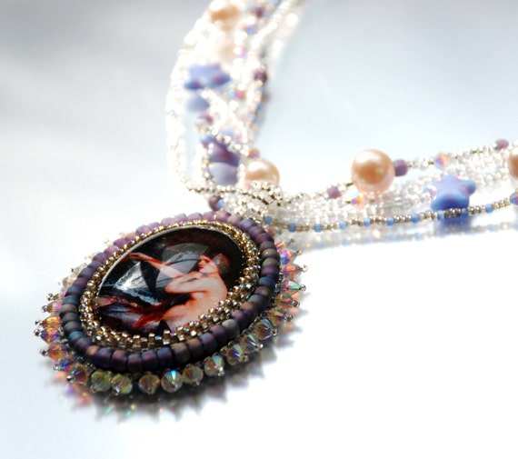 Mermaid - Edwardian Lavender Purple Beaded Necklace with Swarovski Crystals and Glass, Beaded Pendant Necklace, Glass and Pearl