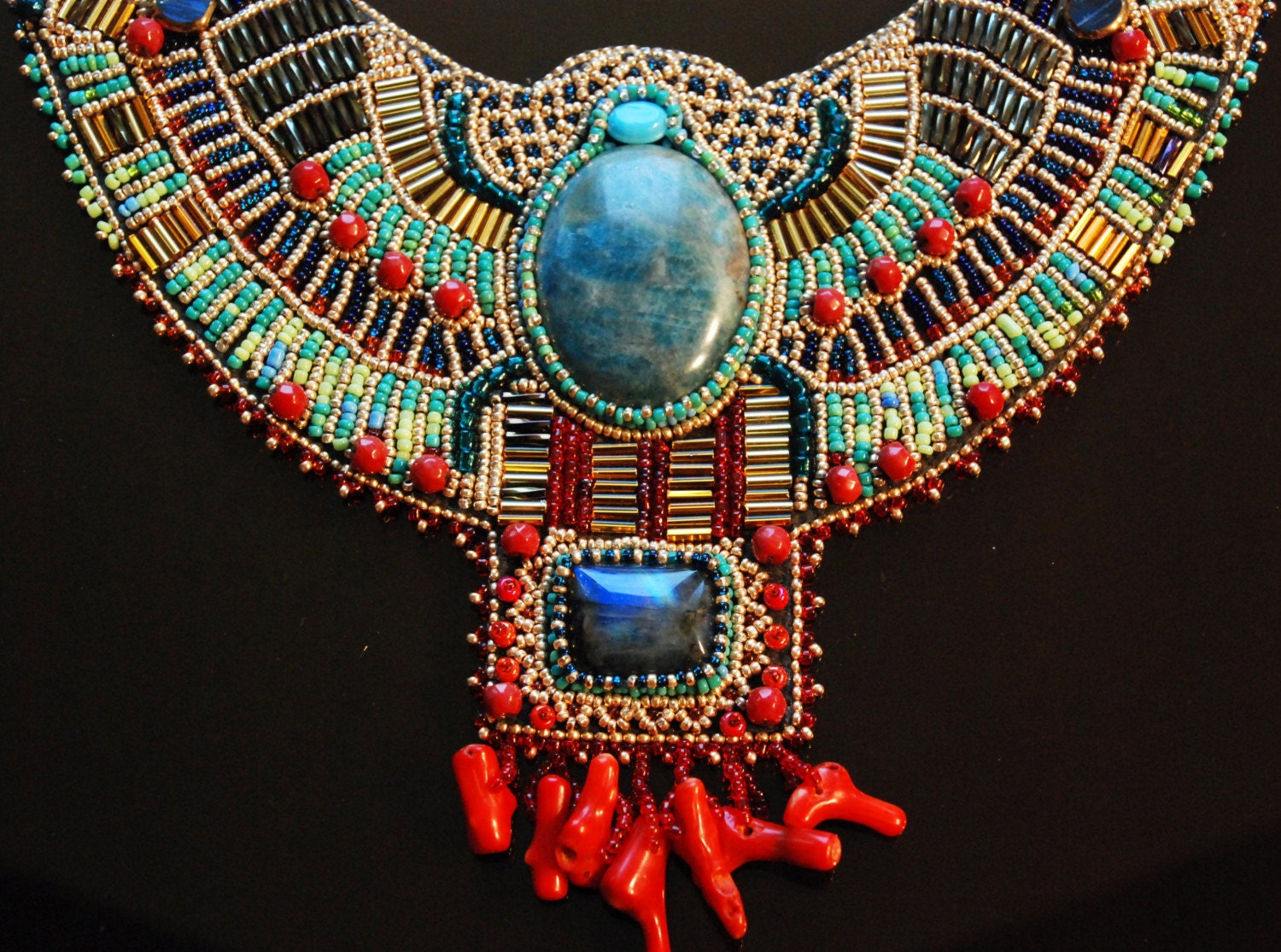 Egyptian scarab beaded collar necklace for Egyptian jewelry