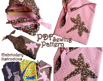 Reversible Tote Bag PDF Sewing Pattern with Appliques Easy and Fun