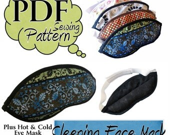 Sleeping Eye Mask PDF Sewing Pattern with instructions for hot and cold Face mask option