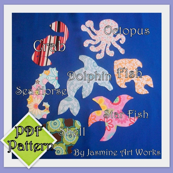 Under the Sea PDF Pattern 7 appliques template for making your own appliques