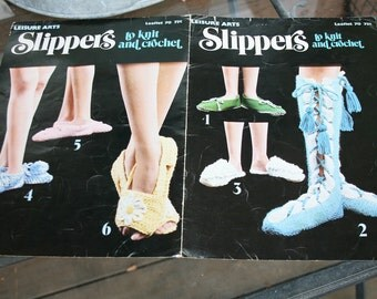 1976 Slippers to knit and crochet groovy patterns 6 of them