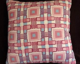 Eames Mid-Centruy Barkcloth Pillow Pink and Aqua