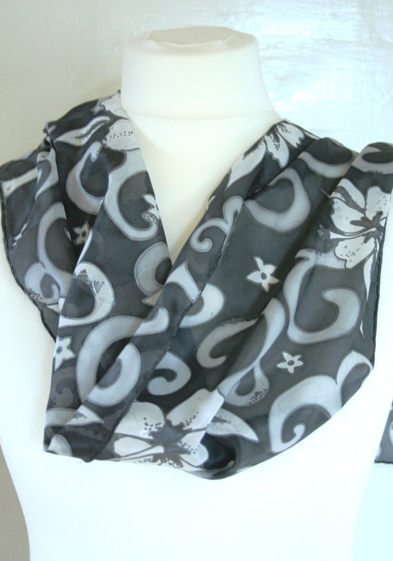 Hand Painted Silk Scarf. Black and white Silk Scarf. Hibiscus.