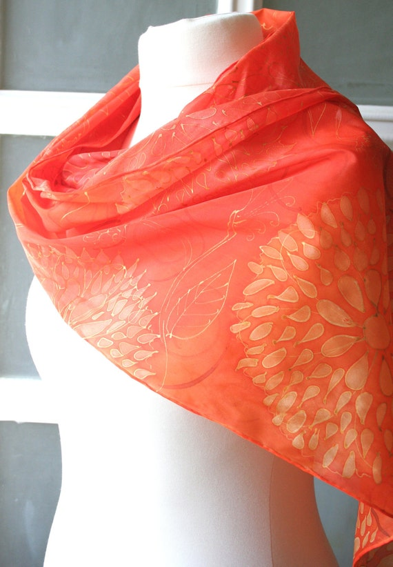 Orange Scarf. . Hand Painted Silk Scarf Orange,  Red Orange. Tangerine. Orange Silk Scarf. 12
