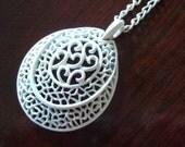 Vintage white filigree teardrop necklace - FREE US shipping