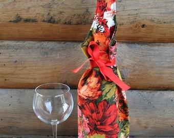 Colleen wine bag - vintage orange mums - FREE US Shipping