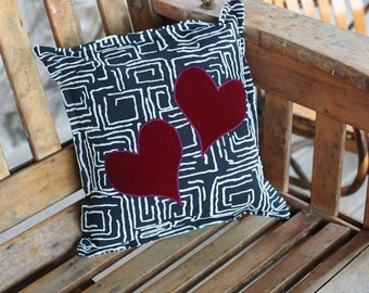 """crazy hearts 14"""" decorator pillow - FREE US shipping"""