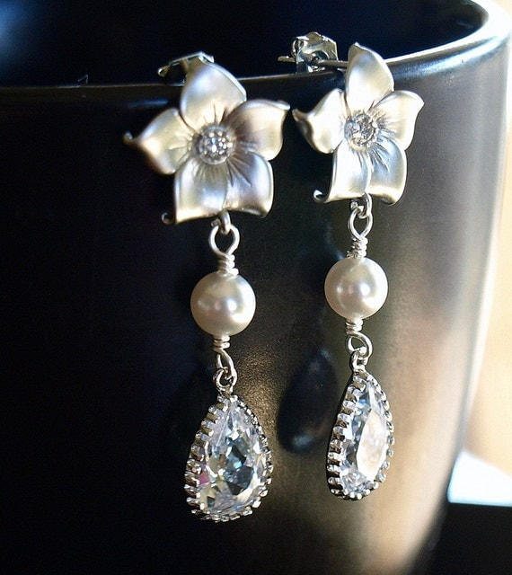 RhinestoneFlower, Swarovski Crystal and Pearl Dangle Earrings