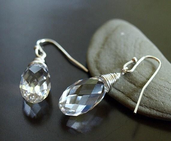 Crystal Clear Quartz Glass Teardrop Earrings