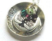 Family Tree Charm sterling silver hand stamped pendant and necklace, cupped with birth stone charms