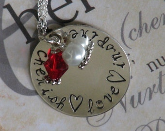 CHERISH LOVE INSPIRE sterling silver hand stamped necklace