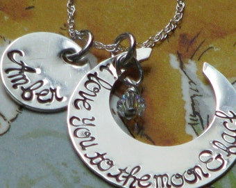 I love you to the moon and back necklace with name charm - sterling silver hand stamped