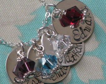 Sterling Silver hand stamped FOUR charm necklace