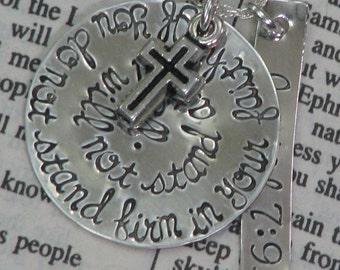 Sterling silver hand stamped necklace with rectangle tag and charms - Isaiah bible verse
