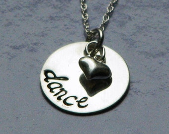Dance - Sterling silver necklace with hand stamped pendants and sterling silver heart charm