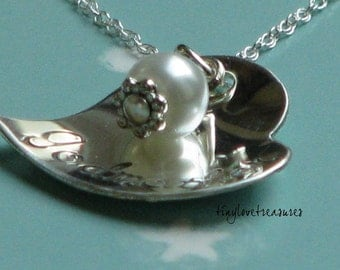 Cupped heart Sterling Silver Hand Stamped necklace