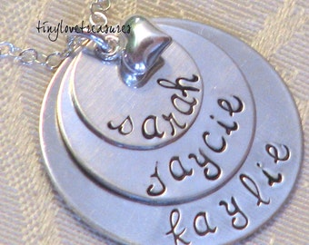 Triple Stack Hand Stamped Sterling Silver necklace