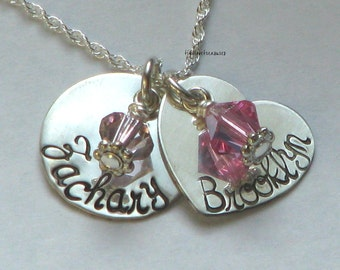 Heart and Circle Sterling Silver hand stamped charms with birthstones and necklace