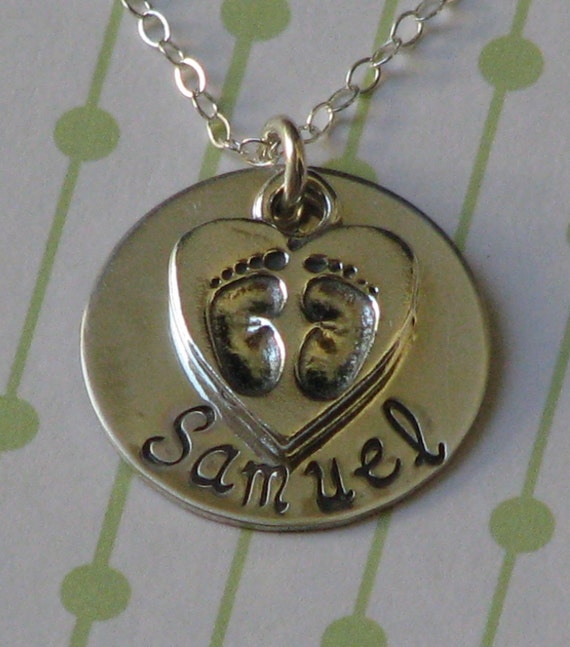 Sterling silver hand stamped BABY FEET necklace