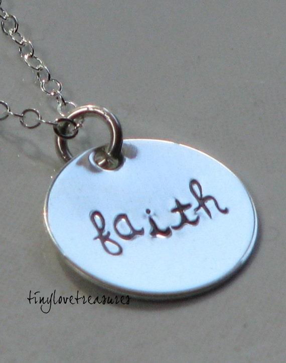 Have a little FAITH, sterling silver hand stamped necklace