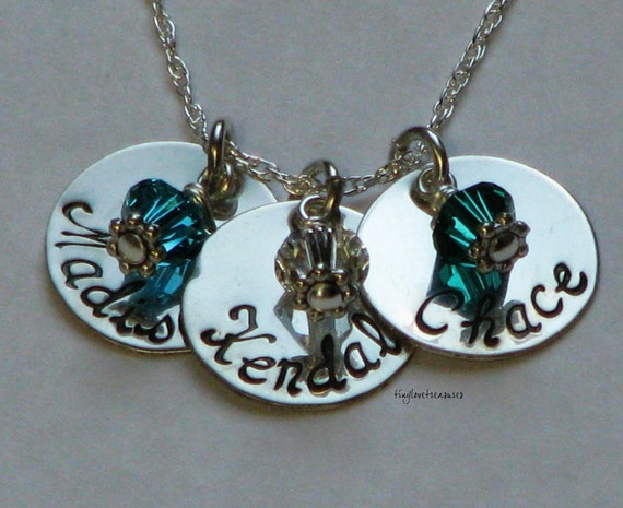 Sterling silver triple hand stamped  pendant necklace with Swarovski crystal birthstone charms
