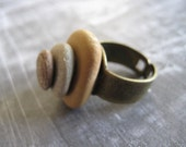 Stacked Stone Ring - beach pebbles, organic and OOAK - free shipping