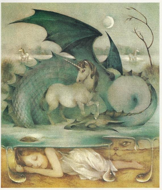 Amanda is Dreaming of Dragons, Vintage Art Print