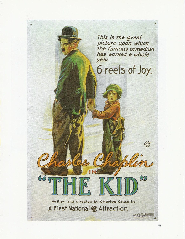 Charlie Chaplin Vintage Movie Poster Art Print The Kid 1920