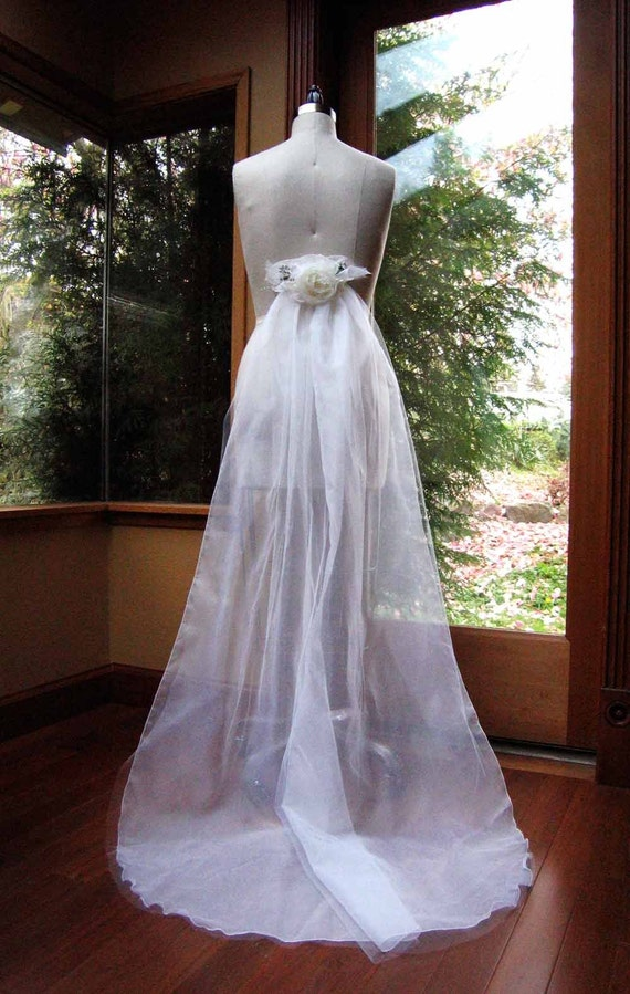 Items similar to elegant detachable wedding dress train on for Detachable train wedding dress