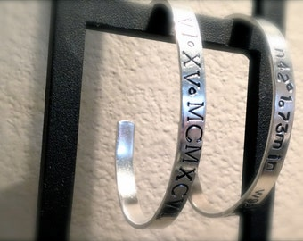 Silver Stamped Latitude and Longitude Bangle - Roman Numeral Date Bracelet