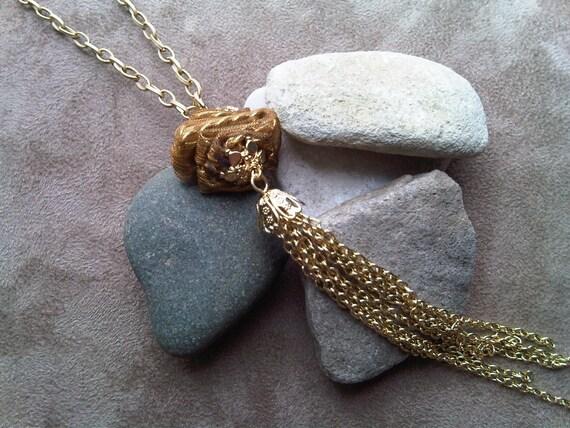 Gold Tassel Long Necklace