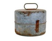 Primitive Galvanized Metal Lunch Tin Round Lidded Box Lid Handle Rusty Patina Storage