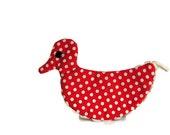 Vintage Pot Holder: Polka Dot Duck in Red & White