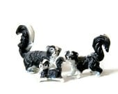 Miniature Bone China Skunk Family Three Little Stinkers Kitschy Figurines Black White Animal Porcelain