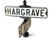 Antique Street Sign Corner of Hargrave & 6th Street in Black and White Enamel Cast Iron