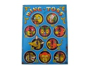 Vintage Game Board Ohio Art Tin Toy Litho Blue Ring Toss Colorful Circus Animals