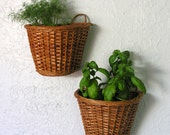 Vintage Wicker Wall Baskets Metal Liners Laundry Room Kitchen Bathroom Office Garden Shed