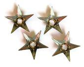 Vintage Tin Stars Retro Christmas Silver Light Reflectors Vintage Metal Supplies
