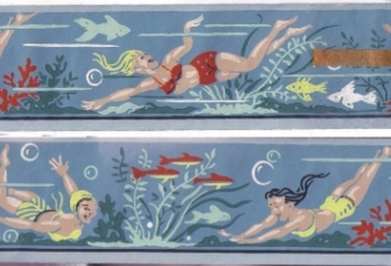 Bathing Beauty Pin Up Girls Vintage Wallpaper Border Unused, New Old Stock