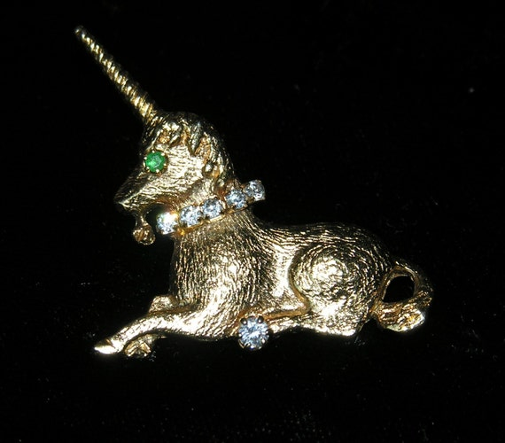 Unicorn Brooch Pin Mythical Golden Creature