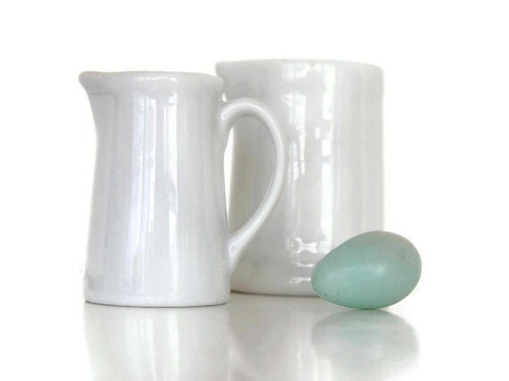 Pair of Tiny White Cream Pitchers - Instant Vintage Collection