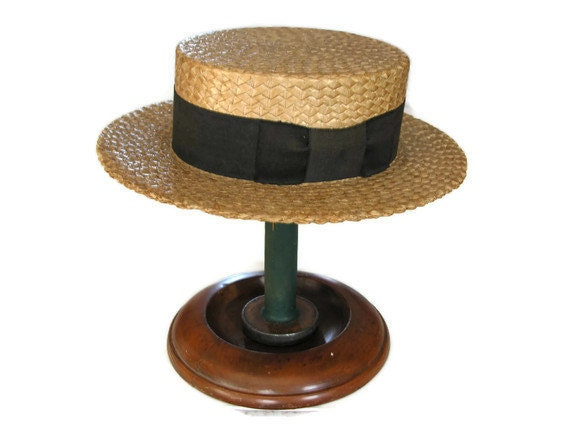 Vintage Boater Hat - Summer Sailor Straw Skimmer Size 7